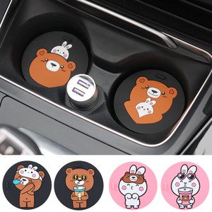 Cartoon Silicone Car Mug Coaster Portable Home Office Milk Coffee Mug Cup Mat Non-slip Car Cup Mats Cute Animals Cup Pad Coaster