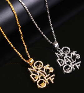 Trendy Statement Women Men Gold Letter Crystal Pendant Necklace Hip Hop Bling Bling Iced Out Chain Necklaces Jewelry ps0590