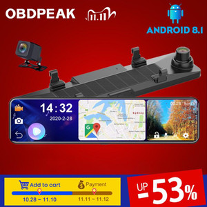 "4G + ROM 32G OBEPEAK 12"" Car DVR Rearview Stream Mirror Camera Android 8.1 4G Wifi ADAS Dual DashCam Car Video Recorder 24H"