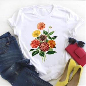 Women Shirt Womens Floral Flower Elegant Plant Clothes Ladies Short Sleeve Kawaii Tees Top Graphic Printed Tshirt Female T shirt
