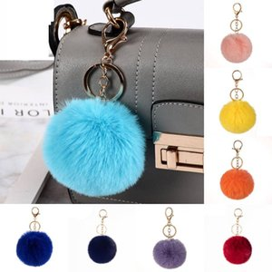 32 Styles Colorful Pom Poms Keychains Faux Fur Fluffy Ball Pompoms Keyring for Girls Women Hat Bag Accessory Kimter-C582FZ