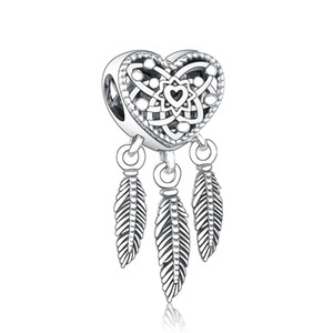 Fit Original Pandora Charm Bracelet Authentic 100% 925 Sterling Silver Dream Catcher Feather Bead For Making Women Berloque 2021