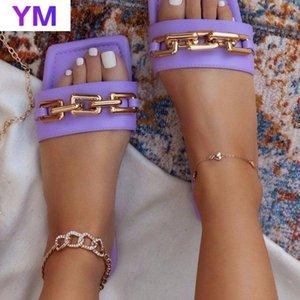 2021 Yeni Varış Terlik Kadın Sandalet Moda PVC Kaydırıcılar Doğal Kürk Kapalı Slaytlar Sapatos Femininos Zapatillas Mujer Casa