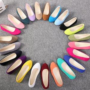 Plus size 35-43 mulheres apartamentos deslizamento em sapatos lisos cor de doces mulher sapatos de barco preto mocassins faux camurça senhoras balé flats lhcgy