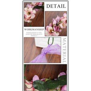 Haimeikang 수제 인공 꽃 여성 소녀 공주 크라운 머리 띠 결혼식 신부 패브릭 꽃 베일 머리 화환 qylgpp