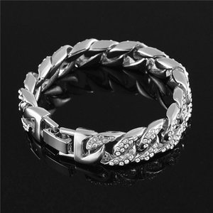 Trendy Bracelet Mens Stainless Steel Gold Rhinestone Thick Chain Hip Hop Rock Style Luxury Gift Jewelry for Women