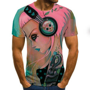 Guitar T Shirt New Men Women Anime Girl Sweatshirt 3D Print Music Violin Zither Short Sleeve Fashion Hip Hop Top Pullover L0223