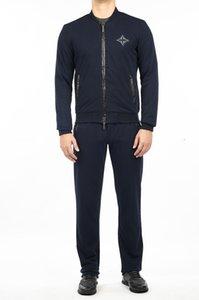 Миллиардер Sportswear Set Мужчины 2021 Зима Толстая Новая Мода Удобная Хлопковая молния Открытый Вышивка Качество Большой Размер M-3XL