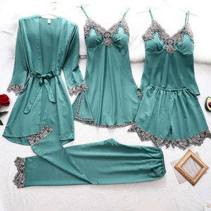 Summer new women's ice pajamas with chest cushion sexy suspender skirt silk like robe suit