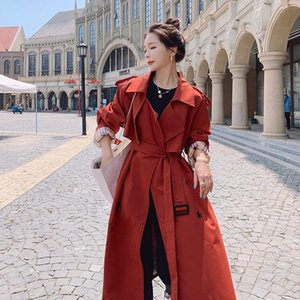 Women's Trench Coats England Style Red Long Women Coat Double-Breasted With Polyester Lining Windbreaker Lady Duster Loose Outerwear