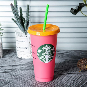 US Stock 24OZ Colorful Tumblers Plastic Drinking Juice Cups With Lip And Straw Magic Coffee Mug Costom Starbucks color changing plastic cup