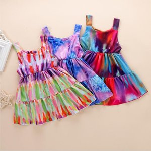 Baby Girls Sleeveless Rainbow Tie-Dyed Print Princess Dress Summer Clothes Kids Casual Party Dress New Fashion zyy668