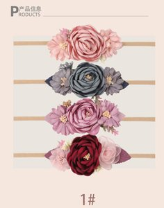 16pc lot born Pearl Lace Flower Nylon Headband Bohemian Wreath Head Bands Baby Girls Hair Accessories