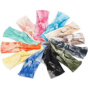 الصيف التعادل صبغ القطن معقود hairbands الملونة مضلع رباطات للنساء الفتيات أغطية الرأس مرونة الرياضة اليوغا اكسسوارات للشعر