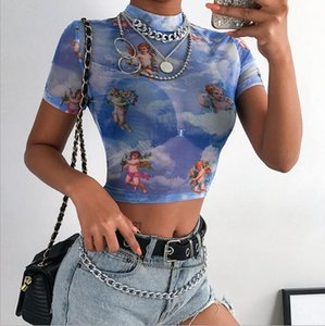 Woman Short Sleeve Mesh Crop T-shirt Cute Lovely angel Printed High Neck Mesh Crop T-shirt S-L 3Color
