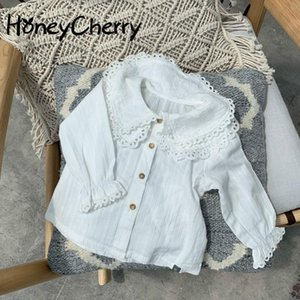 2021 Spring white blouse New Girls Cotton Princess Shirt Lace Sleeve Lapel Long-Sleeved Top girls blouse