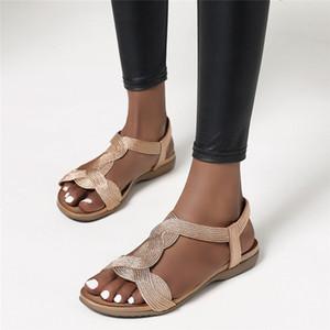 Sommer Frauen Sandalen Wohnungen Casual T-Strap Gladiator Sandalen Mode Bling Gold Silber Strickstrand Flache Schuhe Frauen Zogereer 210302