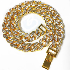 2021 Newest Flatfoot Gold Silver Color Iced Out Rhinestone Choker Necklace Women Bling Cuban Link Chain Crystal Necklace Hip hop Jewelry
