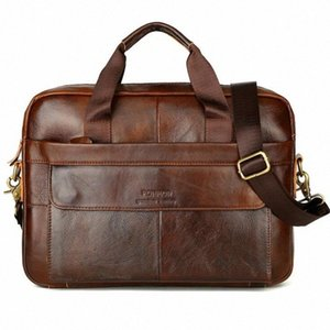 Men Handle Shoulder Briefcase 2019 New Genuine Leather Sewing Thread Zipper Casual Diagonal Bag Handbag 02Vd#