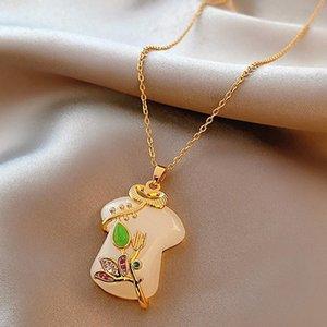 Mogaku Mode Design Femme Collier Pendentifs Vêtements En forme d'ornement Accessoires Bijoux Chinois Style Chinois Mesdames Chaînes Tendance Cadeau