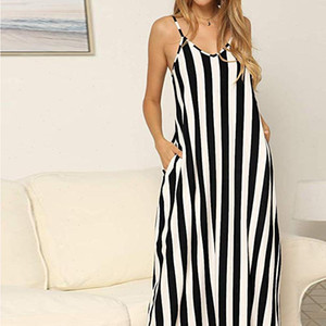 2021 Spring Summer Maxi Dress Loose Long Jurken Women Vintage Evering Party Robe Stripe Printed Plus Size Vestido De Mujer