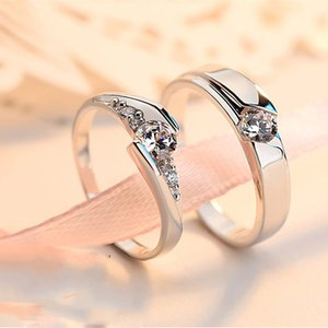 Buyee 100% 925 Sterling Silver Couples Ring Sets Women 0.5ct Shiny Zircon Classic Wedding Ring for Men Women Engagement Jewelry C0305