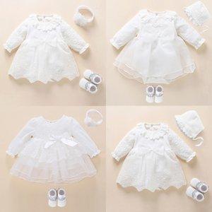 NOUVEAU-né bébé Girl Girl Dress Clein De Baptême Robe De Baptême Pour Baby Girl Dentelle Vestido Bebe Robe Bapte 3 6 9 Mois 210315