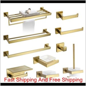 Brushed Gold Towel Bar Rail Toilet Paper Holder Towel Rack Hook Soap Dish Toilet Brush Bathroom Accessories Hardware Set 04U19 Qazis