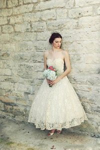 2021 Short Beach Wedding Dresses A Line Sweetheart Full Lace Ankle Length Bridal Gowns Custom Made