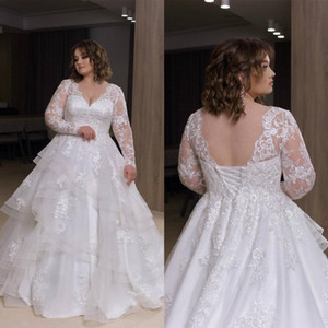 2021 Plus Size Wedding Dresses A Line V Neck Lace Applique Long Sleeve Bridal Gowns With Tiered Skirts Sweep Train Wedding Gowns