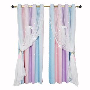 Curtain & Drapes Bowknot Star Curtains Rainbow Colour Blackout Window Living Room Decor Double-Layer Yarn Sheer Drape For Bedroom