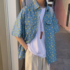 2021 New Summer Denim Men's Fashion Retro Cotton Casual Men Streetwear Korean Loose Short Sleeve Shirts Mens Flower Shirt Pib2