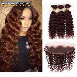 Brasileño 99J Human Hair Weede 100% Human Hair Extensons Deep Wave Wine Red 3bundles con 13x4 oreja a oreja Frontal Borgoña Pelo con cierre
