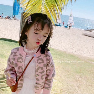 2021 New Korean Baby Girls Leopard Print Cardigan Coat Autumn Kids Children Sweater Knitting Jacket Outerwear High Quality Ym8i