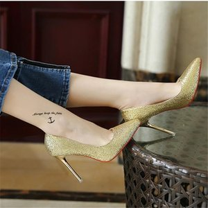 LOUBOUTIN CHRISTIAN zapatos de mujer shoes Women high heels 2020 Summer Golden bling pointed toe red bottom pumps 10CM fashion wedding t zVw