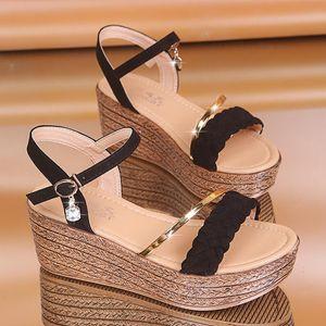XPay High Heels Frauen Sommerschuhe Wedges Böhmische Frauen Sandalen Flache Plattformen Diamant Strand Sandles Offene Zehe Schuhe