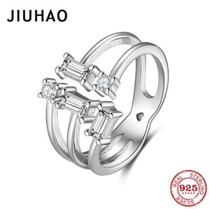 Cluster Rings 925 Sterling Silver Simple Sparkling Clears Zircon Open Adjustable Finger For Women Fashion Female Wedding Jewelry Bijoux