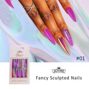 Wholesale Laer Glitter Coffin Fake Nails Glossy Shiny Long Ballet False Fingernails Tips 30pcs Adhesive Gel Full Cover DIY Nail Art Salon For Christmas Gifts