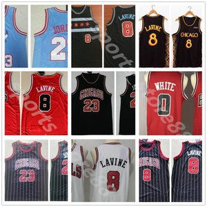 Hombres cosidos 2021 Ciudad Black Gold Coby 0 Zach 8 Lavine Jersey Basketball Red Blanco Camisas cosida Bordado Jerseys FAST Jerseys 05