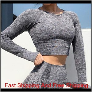 Yoga Set Women Exercise Clothes Long Sleeve Gym Top Yoga Shirts Energy Running Fitness Workout qylOeL lyqlove