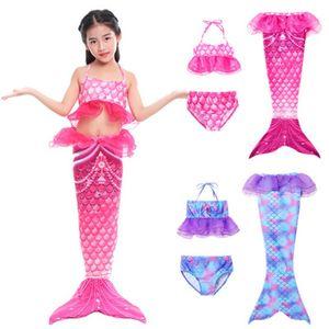 Girls Swimsuit 3pcs Mermaid Tail swimwear kids mermaid Swim pool Bathing Suit Princess beach bikini girls party Cosplay Costumes 127 X2