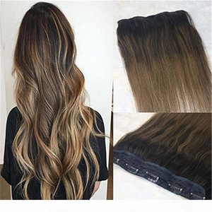One Piece Clip in Human Hair Extensions 70g Ombre Balayage Dark Brown to Medium Brown Remy Hair Weft Clip ins Color #2 6