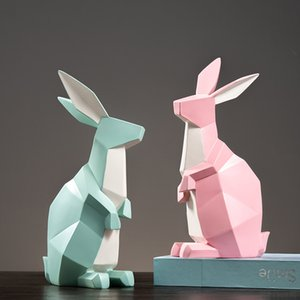 ABSTRACT RABBIT SCULPTURE GEOMETRIC RESIN BUNNY STATUE LIVING ROOM ANIMAL DECOR GIFT AND CRAFT ORNAMENT ACCESSORIES FURNISHING