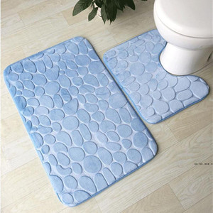 Bath Mat 2 Piece Set Cobblestone Pattern Toilet Cover Foot Pad Non-slip Absorbent Bathroom Doormat Flannel Soft Bath Rug Carpet FWF5295