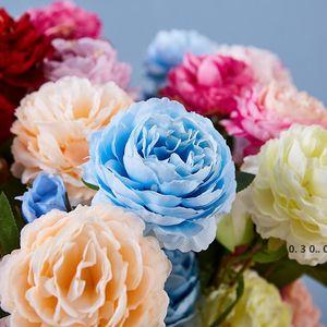 heads Artificial Flowers Peony Rose Autumn Silk Fake Flowers for DIY Living Room Home Garden Wedding Decorations EWB5165