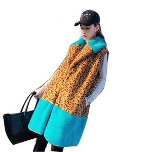 New 2021 Faux Fur Turn Down Collar Color Patch Women Long Oversized Vest Coat Chaleco Mujer Gilet Casaco Feminino Enrm