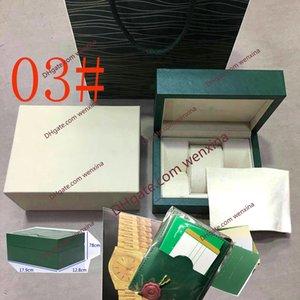 3 أنماط عالية الجودة ديلوكس أحدث جودة الأخضر الظلام الأخضر الأصلي ووتش ووتش مربع أوراق شحن مجاني الساعات صناديق أوراق هدية