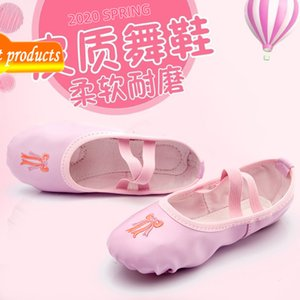 Children's Girl's Training Ballet Soft Sole Shape Pu Fabric Embroidery Kindergarten Dance Performance Shoes T3QR