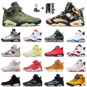 retro 6 6s travis scott Chaussures de basket 2021 Carmine Top Quality Jumpman 6 6s Cactus Jack Pour Hommes Femmes Hare Quai 54 Smoke Grey Sports Blue Trainers Sneakers