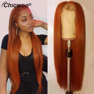 Кружевные парики прямые прозрачные 180% плотность оранжевого омбре человеческие волосы для женщин бразильский ремин передний парик